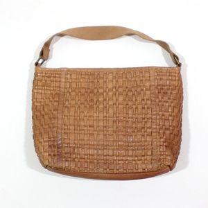 MO & CO Leather Woven Shoulder Bag Sundance